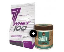 TREC Whey 100 900g + Pure Coconut Oil GRATIS